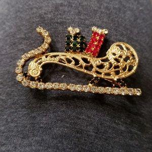 Christmas rhinestone sleigh Brooch
